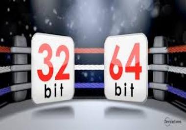 اعطائك طريقة لتحويل نضام ويندوز 32 بيت الى 64 بيت