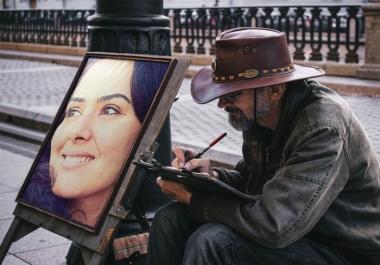وضع صورتك علي لوحه رسم بالالوان والابيض والاسود