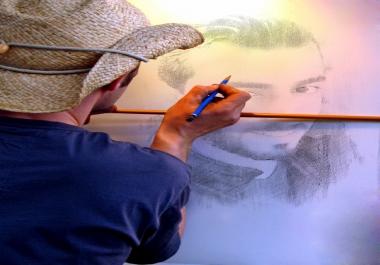 وضع صورتك على لوحة فنان مشهور برسم قلم رصاص