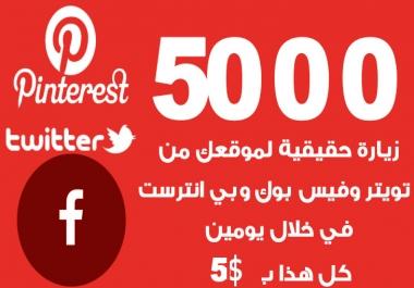 سوف اقوم ان شاء الله بتقديم 5000 زيارة حقيقية من موقع فيس بوك وتويتر وبي انترست في يومين