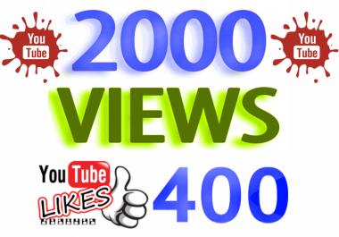 اضافة ٢٠٠٠ مشاهدة عالية الجودة  400 لايك لأي فيديو YouTube