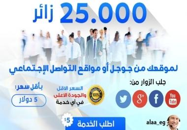 جلب 25000 زائر من مواقع التواصل الأجتماعي واليتيوب