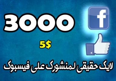 اعطائك 3000 لايك حقيقي لمنشورك على فيسبوك
