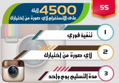 4500 لايك على الانستغرام لأي صورة من اختيارك