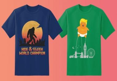 تصميم شعار قميص T shirt ب 5 دولار تحصل على تصميمين