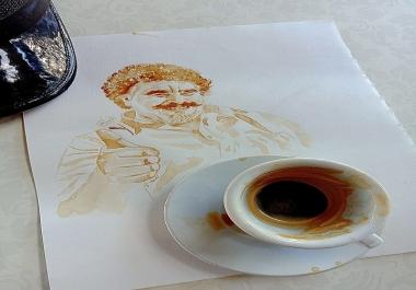 رسم صورتك بالقهوة