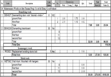 حساب كميات للمنشأت الخرسانيه او المعدنية