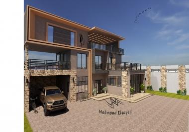 فنان التصور ثلاثي الأبعاد تصميم خارجي وداخلي للمنازل والشريكات
