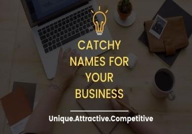 سأقوم بإنشاء 10 اسماء عمل جذابة أو اسم علامة تجارية أو اسم شركة و 3 شعارات باللغة الأنجليزية