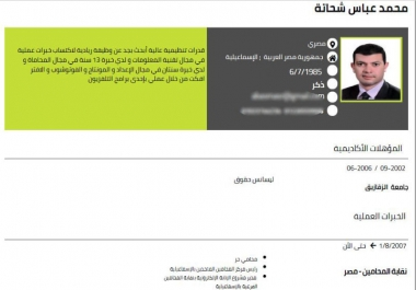 كتابة السيرة الذاتية متوافرة باللغة العربية و اللغة الانجليزية