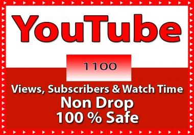 تزويد 1100 مشترك لقناتك على اليوتيوب مع ضمان لمدة شهر