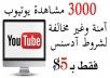 جلب 3000 مشاهدة حقيقة وامنة لقناتك على يوتيوب فقط ب5$