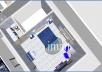 تصميم ثنائي الابعاد و ثلاثي الابعاد لمساحة 50 متر مربع ويشمل تصميم الارضيات و الحوائط وتوزيع الاثاث