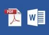 كتابه 1000 كلمه word او تحويل ملفات PDF إلى WORD