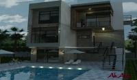 تصميم هندسي ثلاثي الأبعاد لمنزل او فيلا عبارة عن واجهة ثلاثية الأبعاد