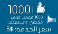 1000 معجب عربي حقيقي مستهدف لصفحتك على فيسبوك