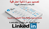 كتابة سيرة ذاتية احترافية للشركات والجامعات الدولية بخمسة تصاميم مختلفة باللغة الانجليزية والعربية