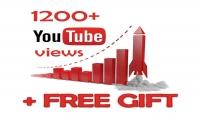 إضافة 1200 مشاهدة حقيقية لفيديو اليوتيوب فقط 5 دولار مع تقديم هدية مجانية مع كل طلب