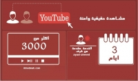 إضافة3000 مشاهدة حقيقية وامنة 100% لاى فيديو يوتيوب