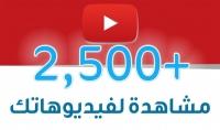 احصل على2500 مشاهدات حقيقية وامنة لاي فيديو على اليوتوب