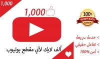 1000 اعجاب لمقطع اليوتيوب الخاص بك