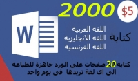 كتابة 2000 كلمة في الوور باللغة العربية فرنسية   انجليزية ب5 دولار في يوم واحد