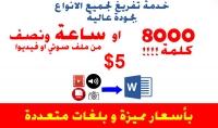 تفريغ ملفات PDF او صوتية على ملف Word نصي. 8000 كلمة  .