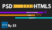 PSD الي HTML5 بكل دقة واحترافية في 2 ايام
