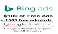 عدد 2 كوبون bing 100$ off و adwards 150$ off