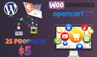 اضافة 25 منتج على OpenCart أو wooCommerce على ووردبريس