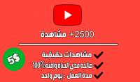 2500 مشاهد حقيقي للفيديو على اليوتيوب في 24h