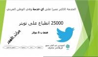 25000 انطباع لتغريدتك على تويتر مقابل 5$