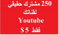 إضافة مشتركين يوتيوب 250 مشترك