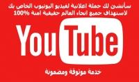 سأنشئ لك حملة اعلانية لفيديو اليوتيوب الخاص بك لاستهداف جميع انحاء العالم حقيقية امنة 100%