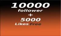 إضافة 10000متابع انستقرام   حقيقي مع 5000 لايك هدية .
